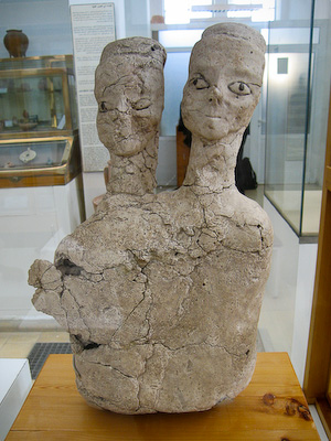 A two-headed bust from the Pre-Pottery Neolithic – 6500 BC – at the Archaeological Museum – Amman