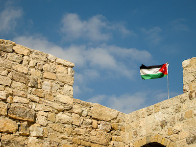 Jordanian flag flying over Karak Castle