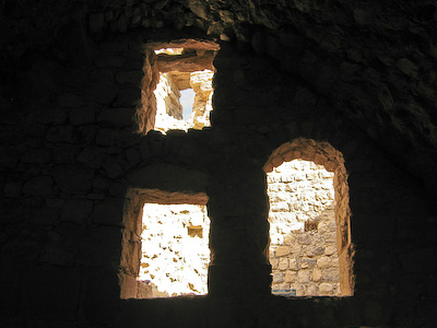 Windows at one end of the stable block – Karak Castle