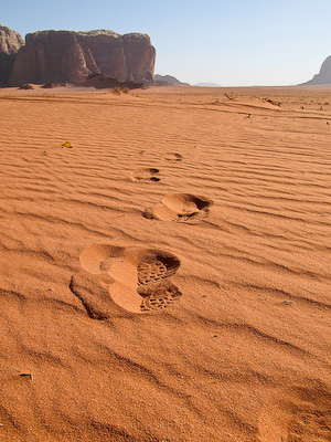 Footprints in the sands of Wadi Rum